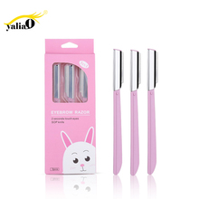 YALIAO 3pcs Pink Box Eyebrow Trimmer Face Hair Remover Stainless Blade Plastic Handle Shaver With Protective Case