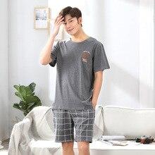 Men's Pajamas Set Summer Short-sleeve Cotton Nightwear Strip