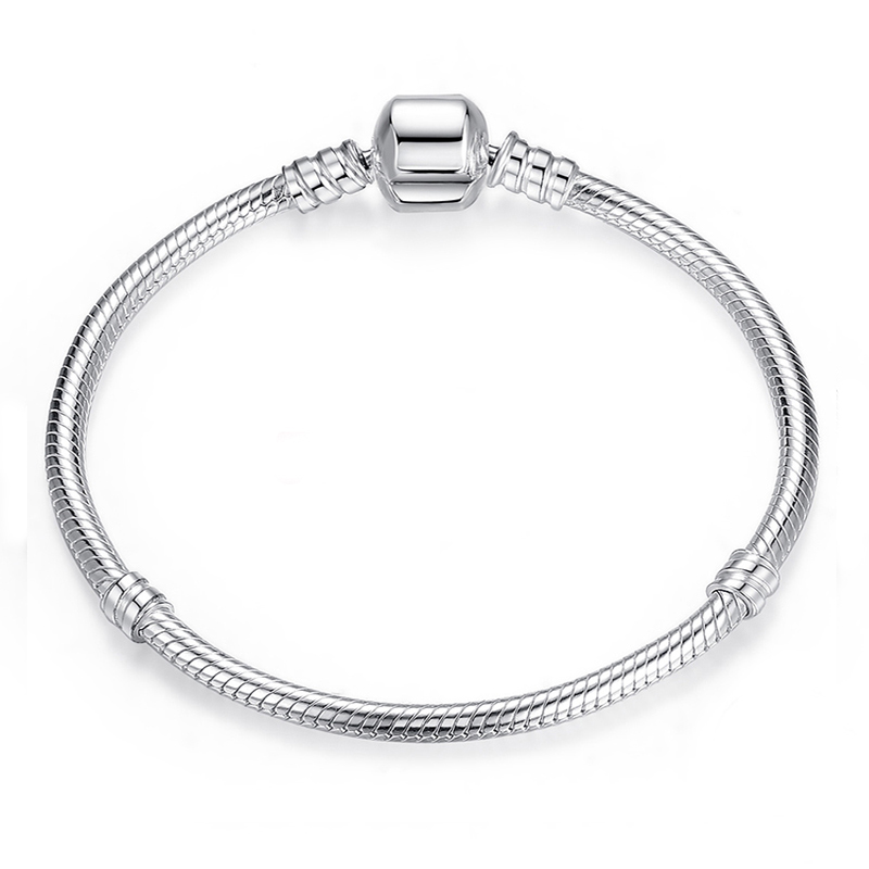 BAOPON High Quality Authentic Silver Color Snake Chain Fine Bracelet Fit European Charm Bracelet for Women DIY Jewelry Making 3