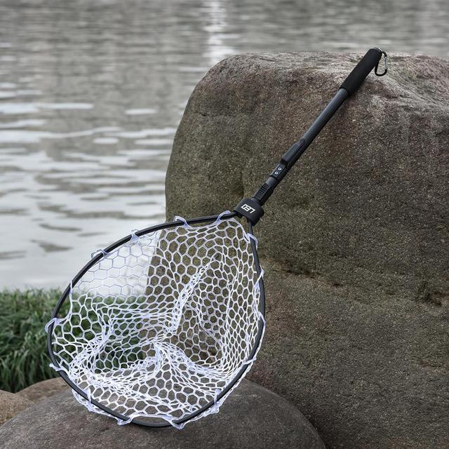 Best Hand Rubber Net Folding Dip Net 85cm Fishing Accessories cb5feb1b7314637725a2e7: Black