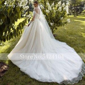 Image 3 - Büyüleyici sevgiliye boyun tam kollu gelin A Line düğün elbisesi 2020 lüks boncuklu aplikler mahkemesi tren prenses gelinlikler