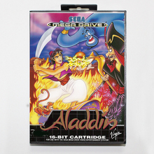 Sega MD games card Aladdin with box for Sega MegaDrive Video Game Console 16 bit MD