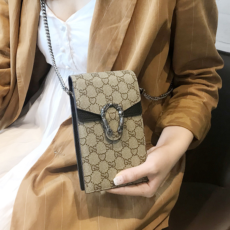 Fashion Mobile Phone Bag Genuine Leather Women Designer Handbags Simple Mini Messenger Crossbody Shoulder Chain Bag Ladies Purse