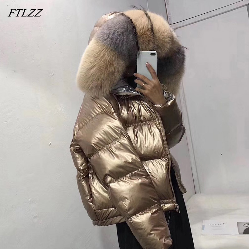 FTLZZ Women Double Sided Silver Golden Duck Down Coat Winter Large Real Fur Collar Waterproof Jacket Hooded Snow Outerwear