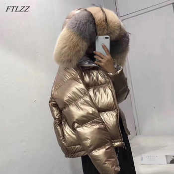 FTLZZ Women Double Sided Silver Golden Duck Down Coat Winter Large Real Fur Collar Waterproof Jacket Hooded Snow Outerwear - DISCOUNT ITEM  45% OFF All Category