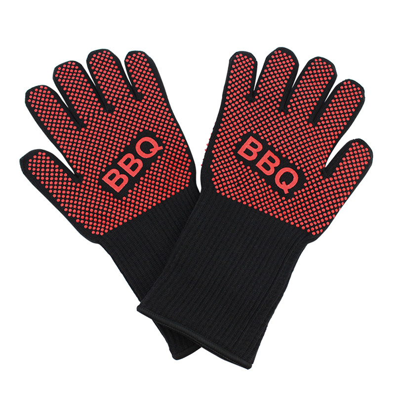 Extreme Heat Resistance Gloves Bbq For Grilling Cooking Thick Silicone Kitchen Oven Bbq Gloves Pair|Oven Mitts & Oven Sleeves| |  - title=