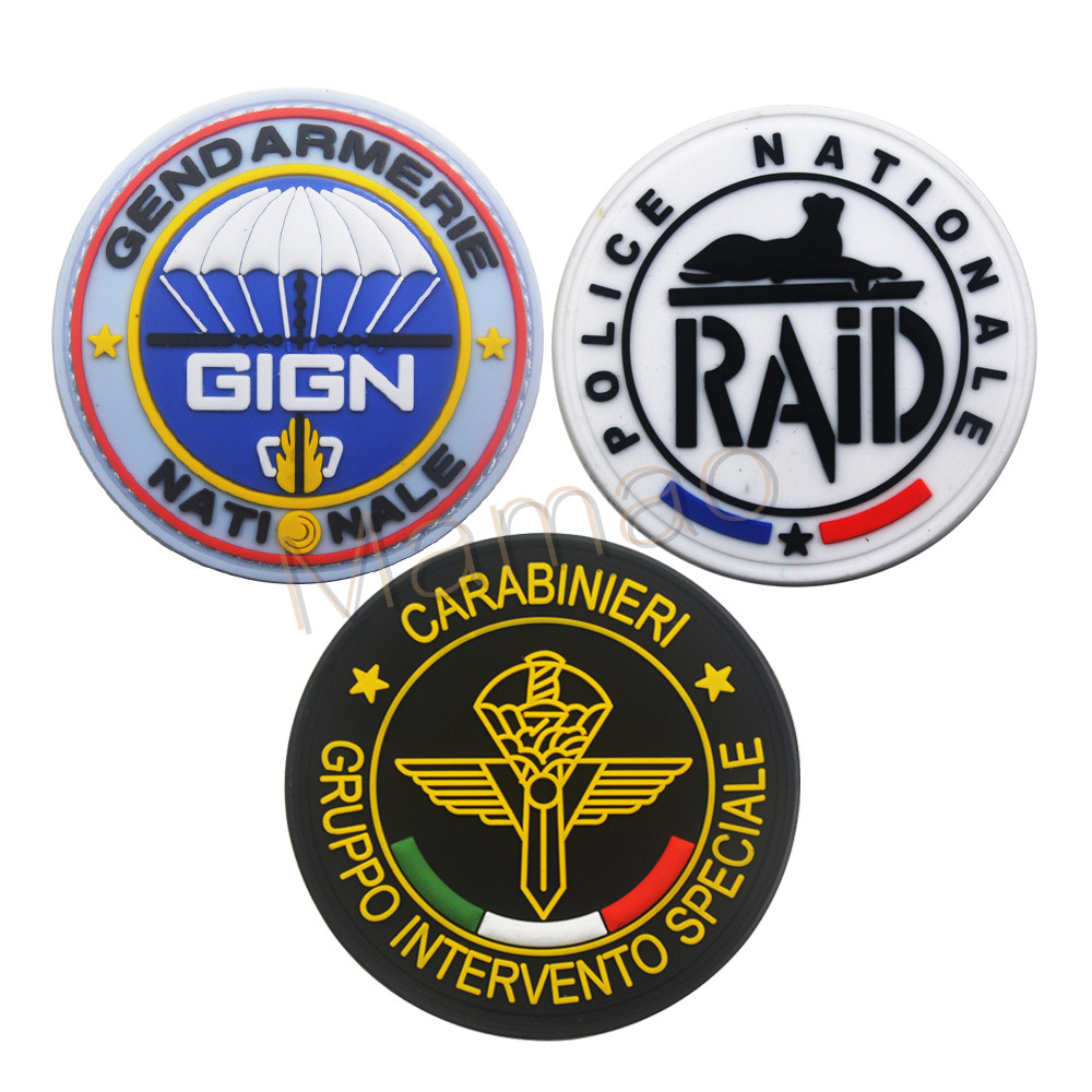"3x8/"" GIGN Black White Hook Back Milsim Patch French Gendarmerie Commandos"
