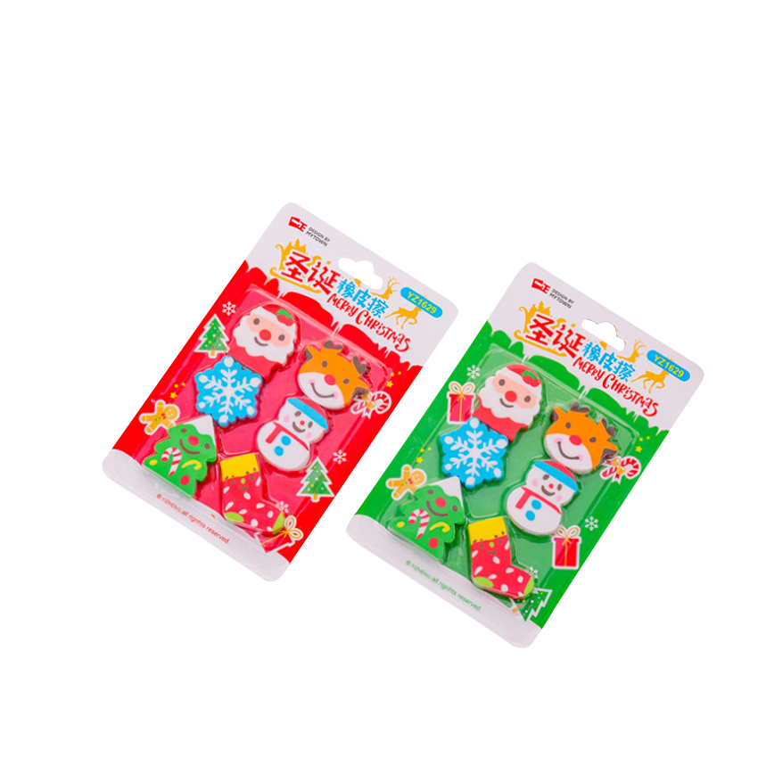6pcs/set Snowflake Christmas Eraser Sets Student Prizes Gift Soft Erasers School Supply For Kids Gifts