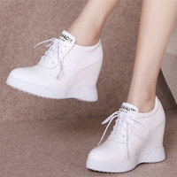 Fashion Sneakers Women Lace Up Cow Leather Wedge High Heel Vulcanized Shoes Female Round Toe Platform Oxfords Shoes Casual Shoes