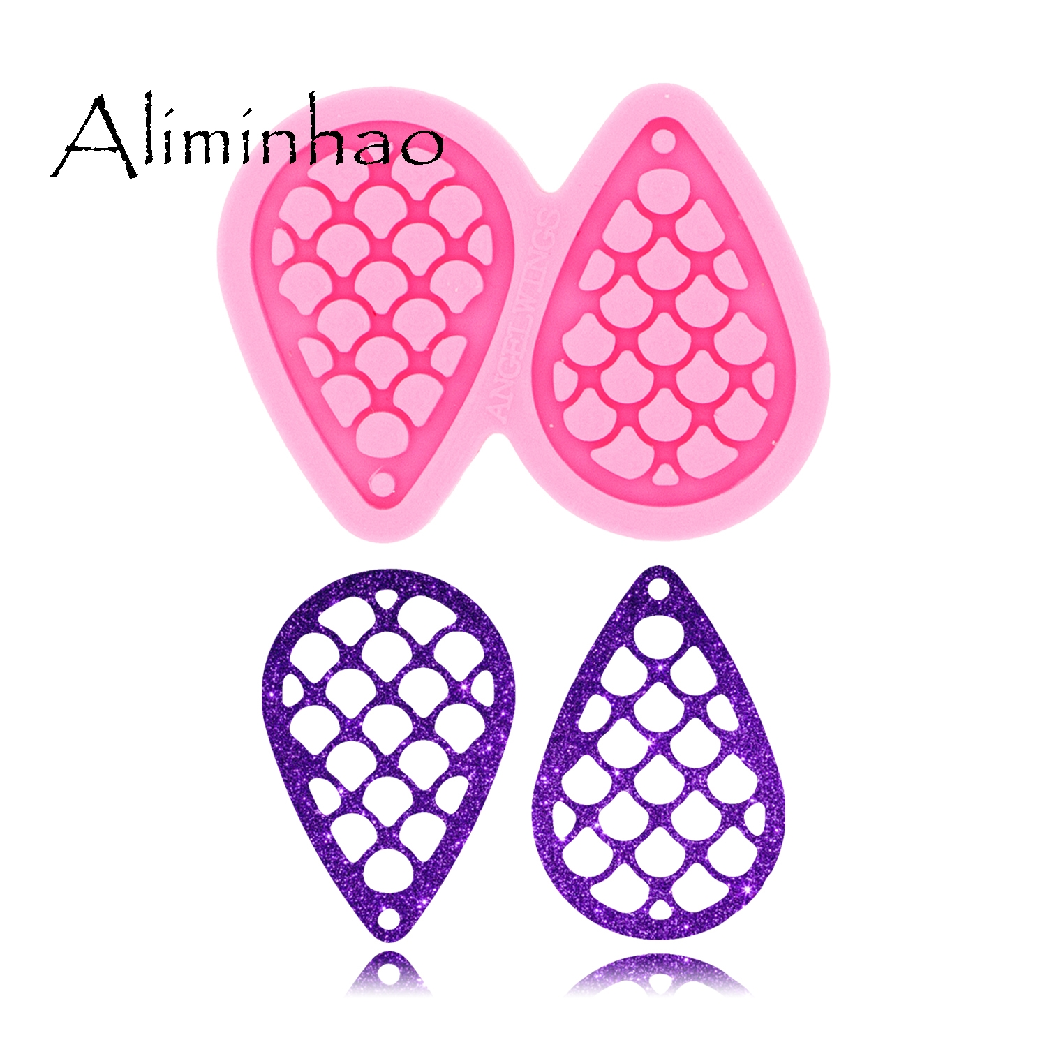 DY0371 L/M/S Fish Scale Shape Tear Drop Hoop Earrings Handmade DIY Epoxy Silicone Molds Fashion Jewelry Resin Craft Mould