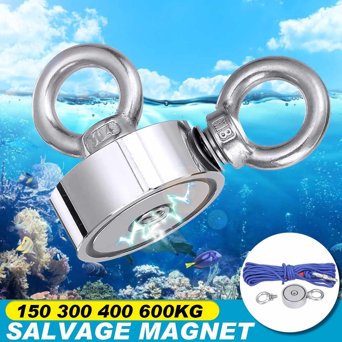 Imán de neodimio de 600Kg, doble anillo de elevación, gancho magnético de búsqueda, gran potencia, imán de pesca de salvamento de aguas profundas + cuerda de 20m