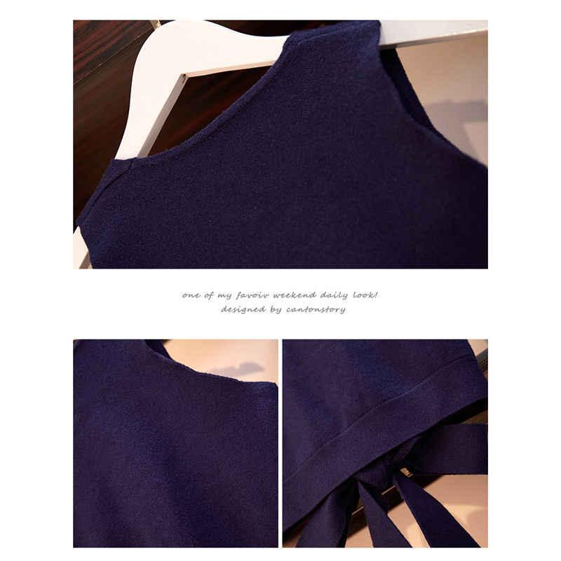 Grote Size vrouwen Set Kleding 2019 Nieuwe Lente Herfst Mode Dot Onregelmatige Jurk Bow Crop Tops Rok Twee- stuk Vestidos f1458