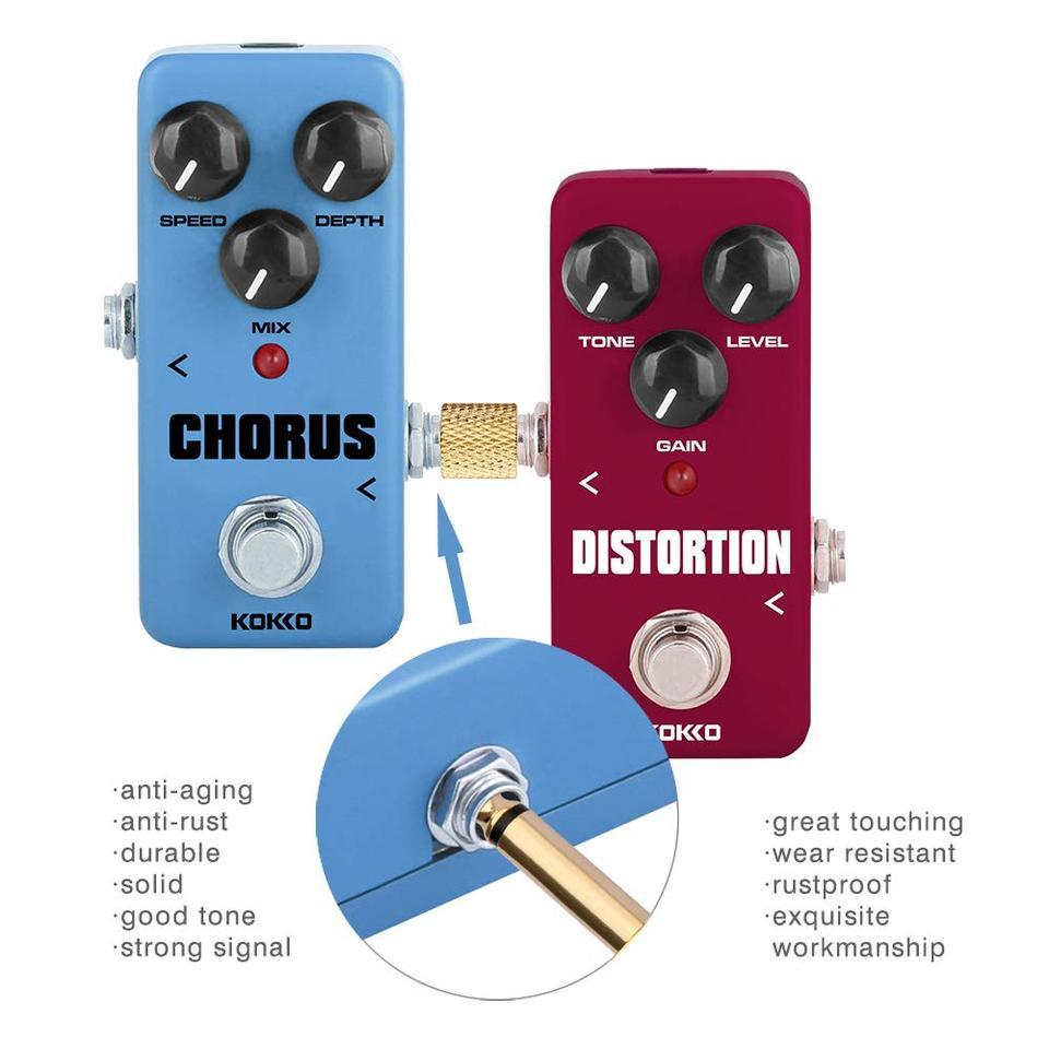 4Pcs Gitarren Effekt Pedal Anschluss Gerade Stecker Patch Adapter Kupplung Neu