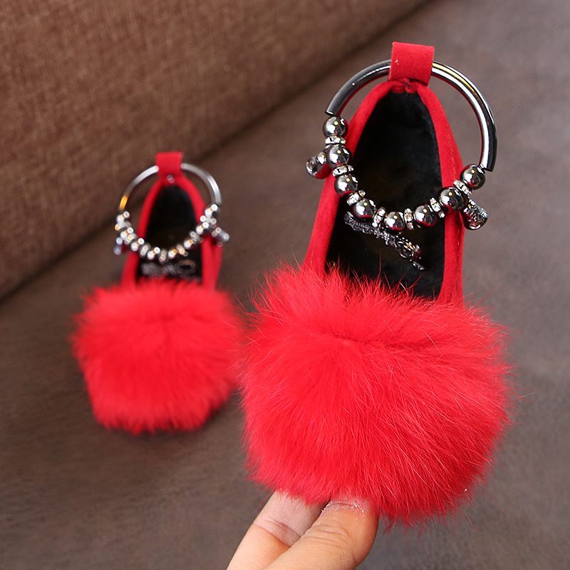 2019 New Fur Flower Bow Little Girls Dress Princess Party Shoe For Toddler Wedding Shoes Baby Kids Leather Shoe 1 2 3 4 5 6 Year