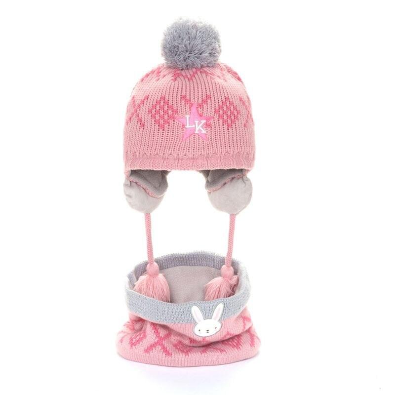 Toddler Kids Winter Knit Animal Padded Earflap Beanie Cap Collar Scarf 2Pcs Set 40JF