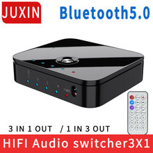 HIFI 4-port 3.5mm Stereo AUX Switcher 3 IN 1OUT Wireless Music Bluetooth 5.0 Audio Receivers Infrared Remote Control