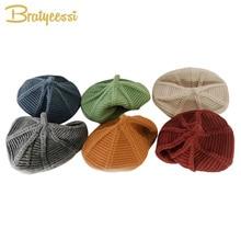 New 2019 Baby Hat for Girls Autumn Winter Children Hats Kids Cap 11 Colors Girl Knit Beret Fashion Painter