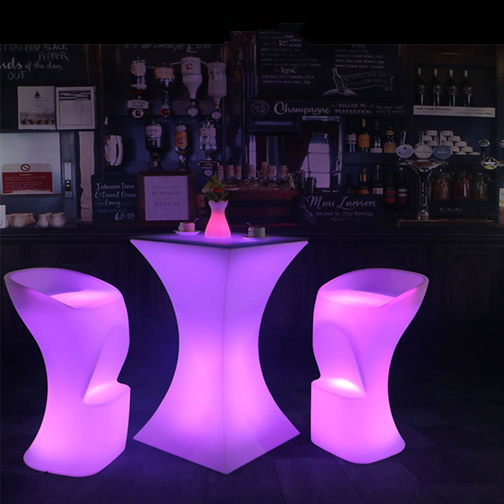 110CM height LED illuminated cocktail table lighted up Bar Tables plastic coffee table Commercial Furniture suppies|Bar Tables| |  - title=