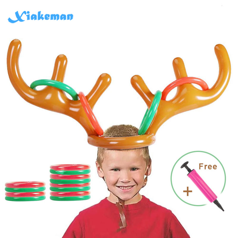 Inflatable Ring Toss Toy Set Inflatable Wearable Reindeer Horn Game Belt Ring Hat Family Christmas Party Throwing Game