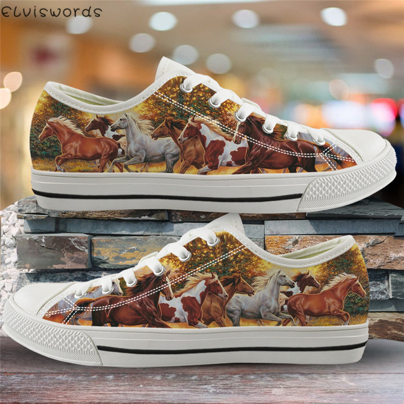 ELVISWORDS Classic Low Top Shoes Crazy Horses Print Women Canvas Vulcanize Shoes 3D Animal Sneakers For Youth Girl Comfort Flats