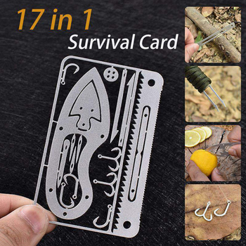 Hot EDC 17 In 1 Fishing Gear Credit Card Multi-Tool Outdoor Camping Equipment Survival Tools Hunting Emergency Kit