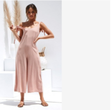 2020 summer new ladies casual loose linen cotton jumpsuit sleeveless backless leggings trousers
