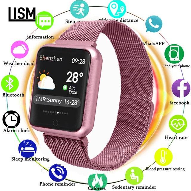 Das Mulheres Dos Homens do Relógio inteligente P68 Pressão Arterial Heart Rate Monitor Sports Tracker Smartwatch IP68 Conectar Xiaomi Huawei Android IOS