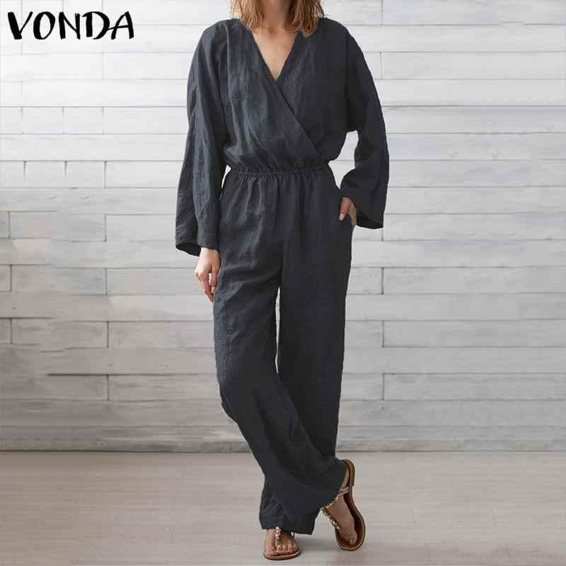 Monos VONDA para mujer 2019 Sexy cuello en V manga larga bohemios mujer monos talla grande pantalones Vintage sólidos monos