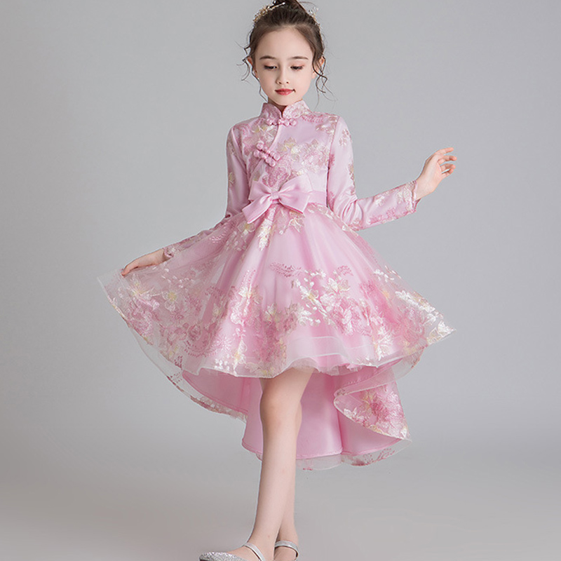 Flower Children's National Cheongsam Party Tail Embroidery Girl Princess's Birthday Party Dance Show Party Tail Dress