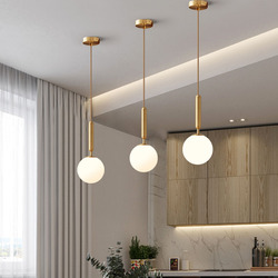 Nordic Small LED Pendant Light Glass Ball Copper For The Dining Living Room Bedroom Bar Cafe Decoration Hanging Fixtures
