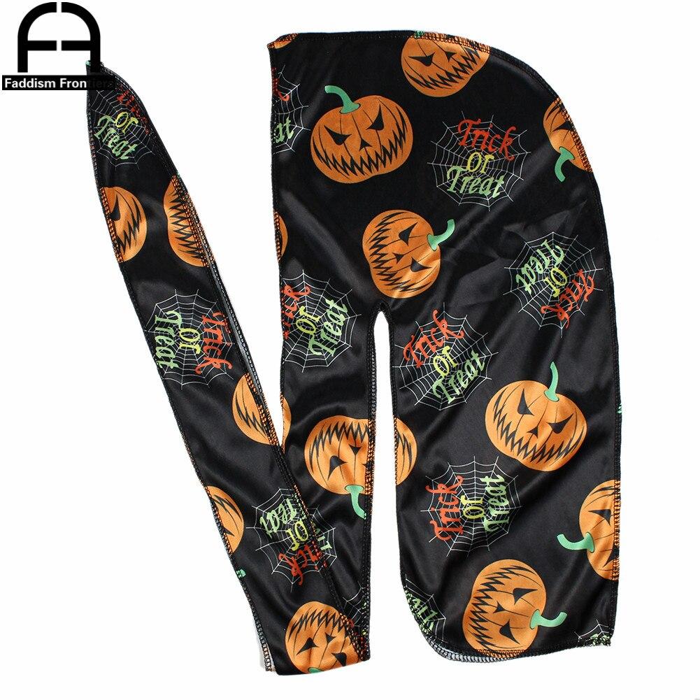 Мужская шелковая бандана Durag, 3 цвета, для Хэллоуина, с волнистым принтом