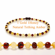 DOREMI 1Gold1Honey Baby Teething Amber Bracelet Necklace for Boys Girl Amber Beads Natural Baltic Amber Neckace Baby Jewelry yoowei 47cm amber necklace for women gogerous gift boho european design 5 6mm baltic amber beads collars amber jewelry wholesale