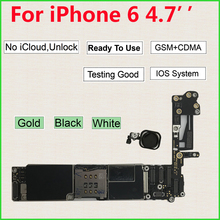 Original Free iCloud Unlocked motherboard for iPhone 6 logic board Touch ID Home Button 16GB 64GB 128GB 32GB