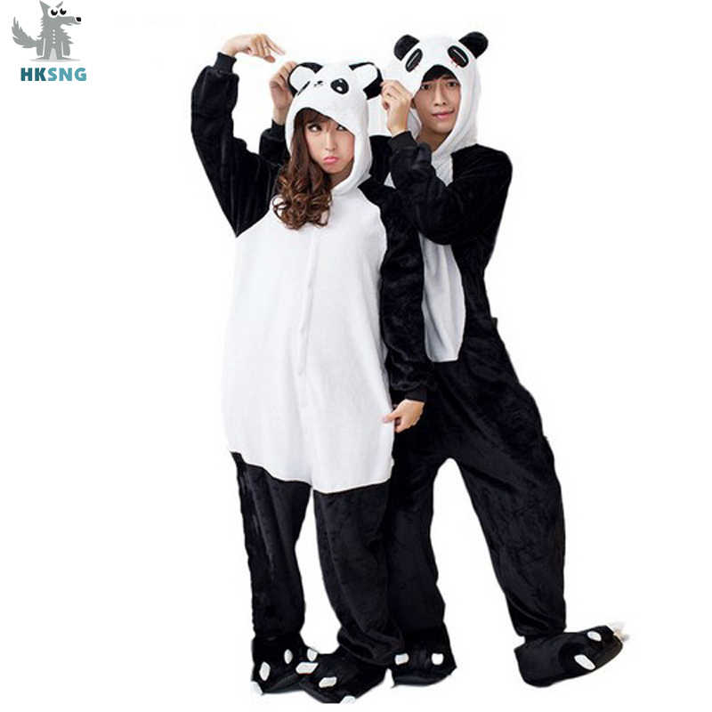 HKSNG Animal Adult Kigurumi Panda Onesies Pajamas Flannel Family Party Cartoon Cute KungFu Cosplay Costumes Jumpsuits Hooded