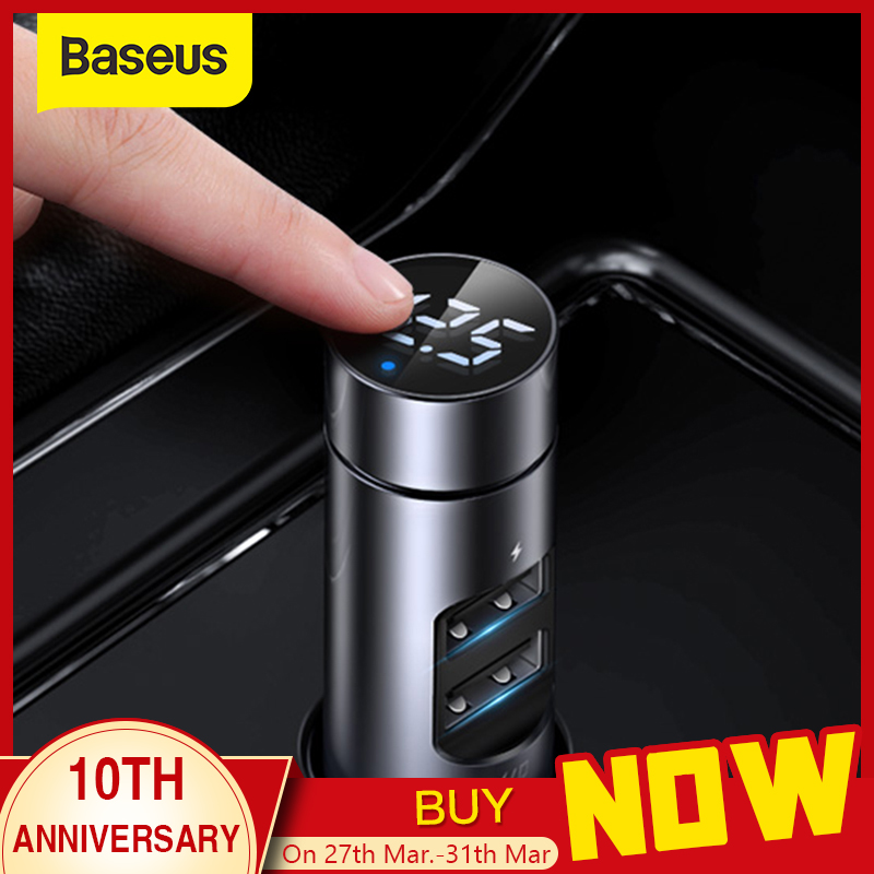 Baseus Car Charger FM Transmitter Modulator Bluetooth Wireless Audio MP3 Player Dual USB Mobile Phone Charger for iPhone Samsung|Car Chargers| |  - title=