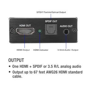 Image 2 - KEBIDU 4 K x 2 K HDMI אודיו extractor + אופטי TOSLINK SPDIF + 3.5mm סטריאו אודיו Extractor ממיר HDMI אודיו ספליטר