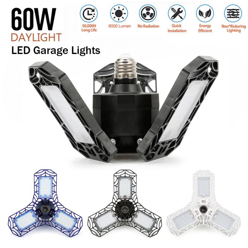 LED Garage Light 360 Degrees 40W 60W Triple Garage Light Glow Three-Leaf Deformable Light Indoor Garage Light 6000 Lumens Light