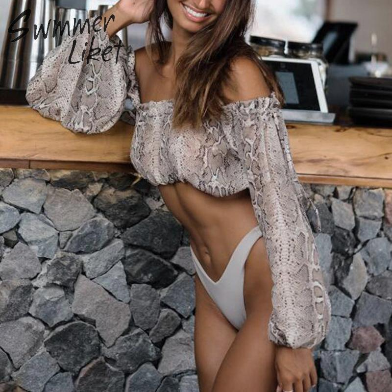 Snake Print Bikini 2019 Off Shoulder Swimwear Women High Waist Women's Swimsuit With Ruffles Skirt Sexy Summer Bathers Biquini