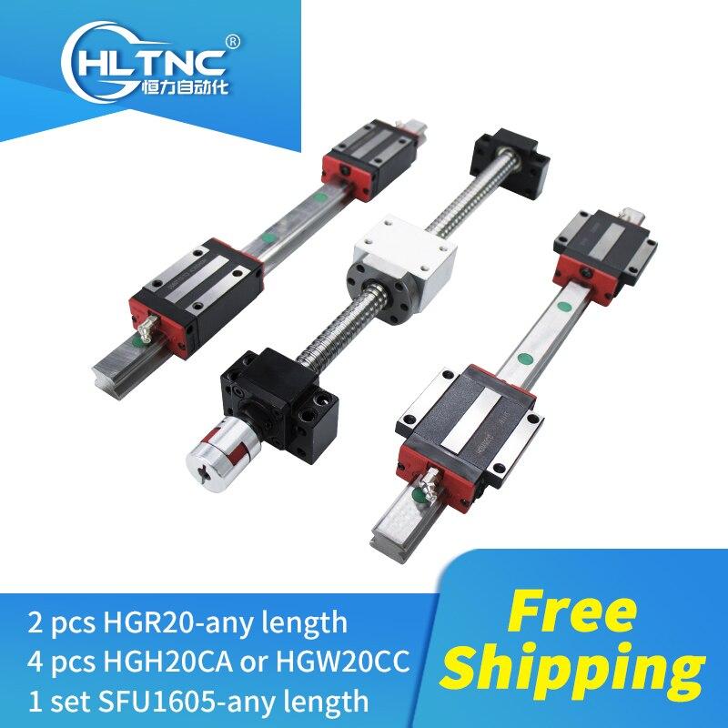 2020 promotion guide de CNC 2 pc HGR20 rail linéaire guide linéaire + 1 ensemble SFU1605/1610 + 4 HGH20CA/HGW20CC pour routeur de CNC