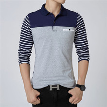 Striped Polo Shirt Men Autumn Cotton Solid Color Winter Shirts Long Sleeve Top Slim Clothing Streetwear