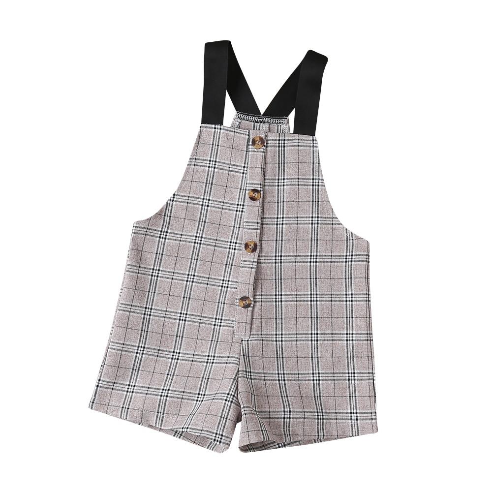 2-6Years Toddler Girls Plaid Jumpsuit Summer Girls Sleeveless Suspender Shorts Overalls Playsuit Children Costumes