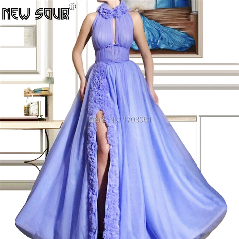 Tiered A Line Formal   Evening     Dresses   Robe De Soiree Couture Islamic Prom   Dress   Halter Kaftan Dubai Party Gowns 2019 Turkish New