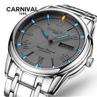 Karneval tritium T25 leucht Doppel kalender militär automatische mechanische uhr männer luxus marke uhren wasserdichte uhr uhr-in Mechanische Uhren aus Uhren bei