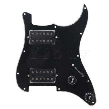 Yibuy BK Loaded Pickguard,Dual Humbuckers For Electric guitar yibuy dual rail dual coill magnetic pickup humbucker for electric guitar black