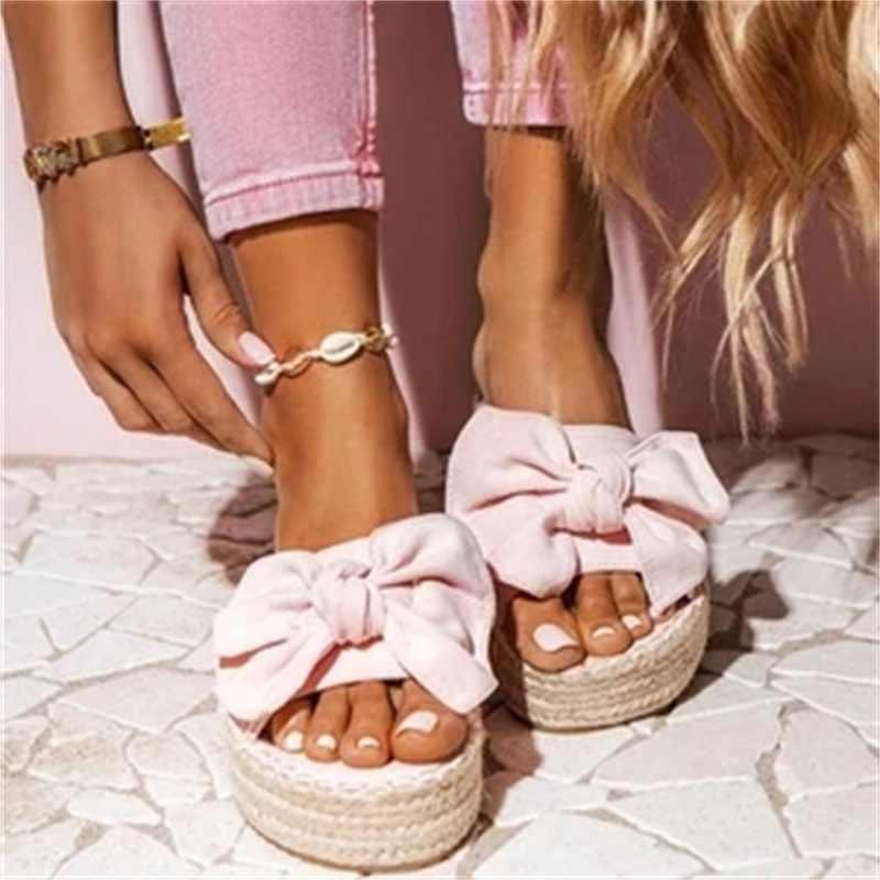 Kadın ilmek terlik 2020 yaz rahat plaj Muffin platformu üzerinde kayma bayanlar sandalet elbise parti Peep Toe kadın sandalet