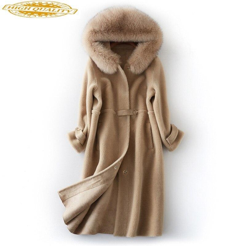 2020 Genuine Real Wool Sheep Shearing Jacket Women's Winter Fur Coat Natual Fox Fur Hooded Long Outerwear Coats BF231098