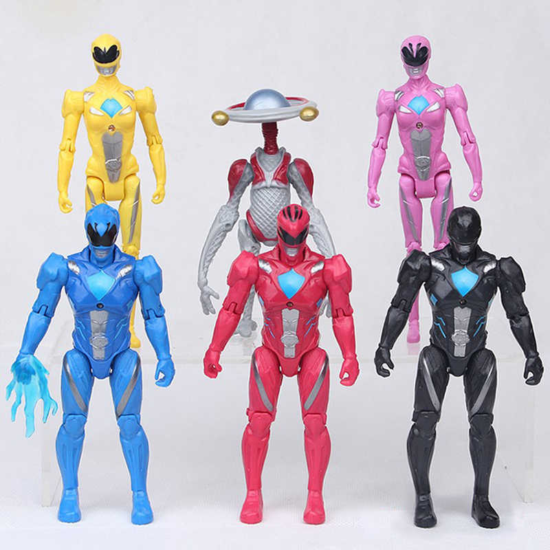 6 Stks/partij Mighty Morphin Power Rangers Mecha Vijf Beest Super Action Figures Battle Neuro Mystic Force Bouwstenen Bakstenen Speelgoed