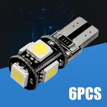 5 SMD T10 Led luce interna Canbus strumento auto Gap coda cuneo parcheggio lampadina 168 segnale 6 pz bianco 12V 5W 12*30mm