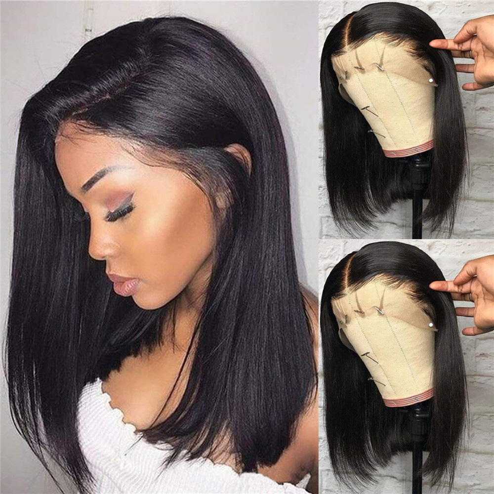 13x6 Deep Part Lace Front Human Hair Wig Silk Straight Side Part Brazilian Remy Hair Pre Plucked Glueless Wig With Baby Hair