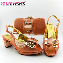 2020 Peach Concise Style African Women Shoes And Bag To Match Set Nigerian High Heels Party Shoes And Bag Set For Wedding Dress(China)